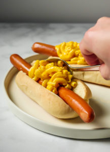 Bacon Mac & Cheese Footlong Hotdog // magicaltreatsathome.com