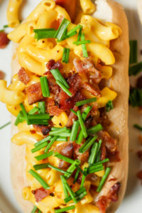 Bacon Mac & Cheese Footlong Hotdog // magicaltreatsathome.com