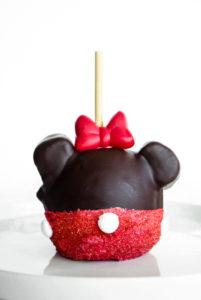 Minnie Mouse Chocolate Covered Caramel Apple // magicaltreatsathome.com