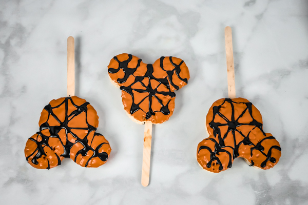 Mickey Mouse Spider Web Rice Krispie Treat // magicaltreatsathome.com
