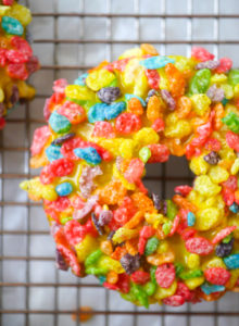 Fruity Pebbles Doughnuts // magicaltreatsathome.com